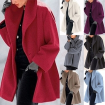 Fashion Solid Color Long Sleeve Lapel Overcoat