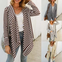 Fashion Long Sleeve Irregular Hem Striped Cardigan