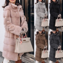 Fashion Solid Color Long Sleeve Stand Collar Plush Overcoat