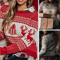 Cute Elk Printed Long Sleeve Round Neck Sweater