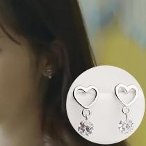 Fashion Rhinestone Pendant Heart Shaped Earrings