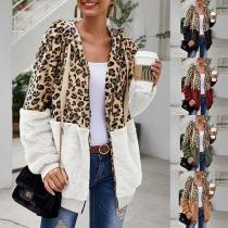 Fashion Leopard Printed Spliced Long Sleeve Hooded Sweatshirt Cardigan
