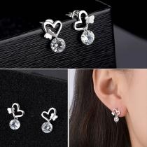 Fashion Rhinestone Inlaid Heart Shaped Stud Earrings