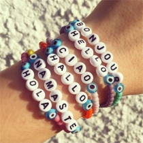 Fashion DIY Letters Greetings Beaded  Bracelet