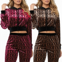 Fashion Long Sleeve Hooded Printed Crop Top + Pants Two-piece Set