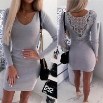 Slim Fit Kleid mit Spitzenbesatz auf der Rückseite