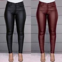 Damen High Waist Slim-Fit Lederhose aus Lederimitat