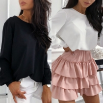 Sexy V-shaped Backess Long Sleeve Solid Color Blouse