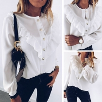 OL Style Long Sleeve Round Neck Solid Color Ruffle Blouse