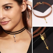 Simple Style Arrow Pendant Double-layer Choker Necklace