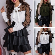 Sexy Dots Gauze Spliced Long Sleeve Lace-up Bow-knot Collar Blouse