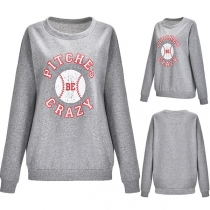 Casual Style Letters Printed Long Sleeve Round Neck Sweatshirt