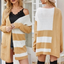 Fashion Contrast Color Long Sleeve Loose Knit Thin Cardigan