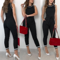 Fashion Contrast Color Sleeveless Round Neck High Waist Jumpsuit(It runs small)