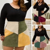 Fashion Contrast Color High Waist Front-zipper  Plus-size Skirt