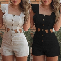 Sexy Hollow Out High Waist Sleeveless Square Collar Ruffle Romper
