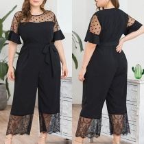 Sexy Dots Gauze Spliced Short Sleeve High Waist Jumpsuit