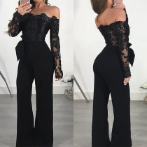 Off Shoulder Jumpsuit mit Spitzen-Oberteil