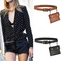 Retro Style PU Leather Waistband with Pouch