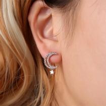Fashion Rhinestone Inlaid Crescent Shaped Stud Earrings