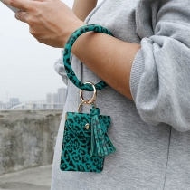 Creative Style Tassel Pendant Leopard Printed Bracelet Key Chain with Pouch