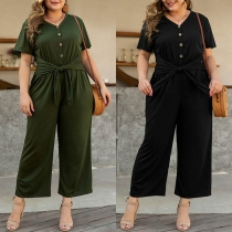 Elegant Solid Color Short Sleeve V-neck High Waist Jumpsuit