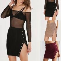 Sexy High Waist Side-slit Hem Solid Color Skirt