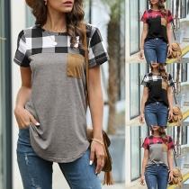 Fashion Plaid Spliced Short Sleeve Round Neck T-shirt