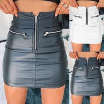 Moderner Kunstlederrock mit Hoher Taille und Schlanker Passform