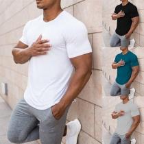 Einfaches T-Shirt für Männer mit Kurzen Ärmeln Rundem Hals und Volltonfarbe