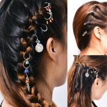 Haarschmuck im Böhmischen Stil mit Feder / Schneeflocke / Perlen