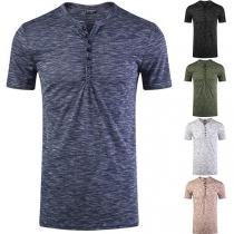 Modernes T-Shirt für Herren mit V-Ausschnitt und Kurzen Ärmeln