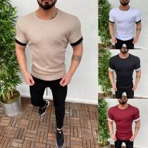Modernes T-Shirt für Männer mit Kontrastierenden Farben Kurzen Ärmeln und Rundem Hals