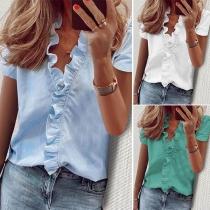 Stilvolle Einfarbige Bluse mit Kurzen Ärmeln, V-Ausschnitt und Rüschen