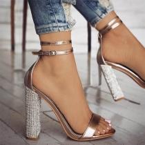 Sexy Schuhe mit Dicken Hohen Hacken und Offenen Nasen