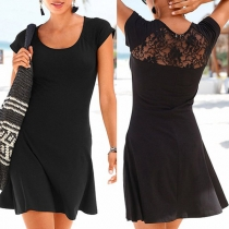 Sexy Kleid mit Spitzendesign Kurzen Ärmeln Rundhalsausschnitt und Volltonfarbe
