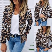 Moderne Dünne Jacke mit Langen Ärmeln Stehkragen und Leopardenmuster