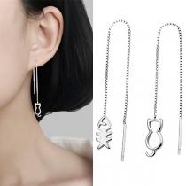 Schöne Asymmetrische Ohrringe mit Katzen- und Fischanhänger