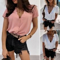 Sexy Bluse mit Volltonfarbe V-Ausschnitt und Kurzen Ärmeln