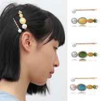 Haarnadel Set im Frischem Stil mit Eingelegten Perlen und Ananasform  2 Stück / Set