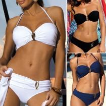 Sexy Einfarbiges Bikini-Set mit Trägern und Niedriger Taille