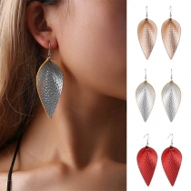 Creative Style Leaf/Water-drop Shaped PU Leather Earrings