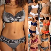 Sexy Backless Low-waist Solid Color Bikini Set