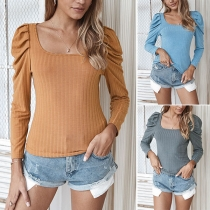 Fashion Solid Color Puff Sleeve Square Collar Slim Fit T-shirt