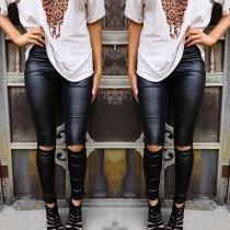 Moderne Einfarbige Leggings mit Hoher Taille und Schlanker Passform