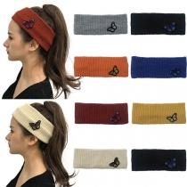 Modernes Einfarbiges Gestricktes Stirnband mit Schmetterling