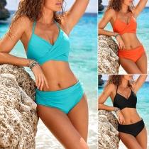 Sexy Bikini-Set mit Freiem Rücken V-Ausschnitt Hoher Taille Volltonfarbe und Trägern