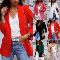 Stilvoller Einfarbiger Blazer mit Langen Ärmeln und Schlanker Passform