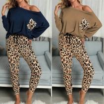 Modernes Zweiteiliges Set bestehend aus einem Sweatshirt mit langen Ärmeln + Hose mit Leopardenmuster