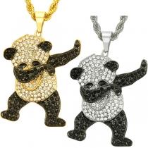 Niedliche Halskette mit Panda-Anhänger und Eingelegtem Strass